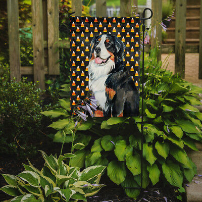 Bernese Mountain Dog Candy Corn Halloween Portrait Flag Garden Size