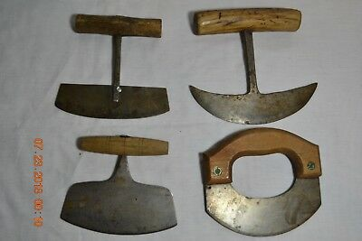 FOUR Antique Vintage Hand Forge Penned Herb Food Choppers