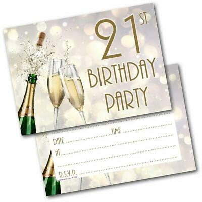 21st Birthday Party Invitations Age 21 Male Mens Female Womens Pack 20 Invites