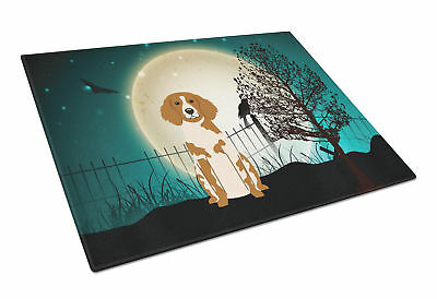 Halloween Scary Brittany Spaniel Glass Cutting Board Large