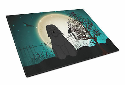 Halloween Scary Bouvier des Flandres Glass Cutting Board Large