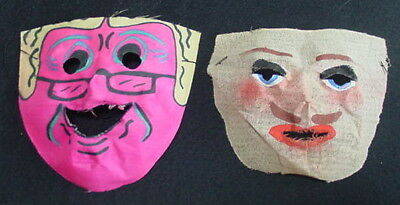 Lot of 2 Vintage Painted Gauze Cloth Halloween Masks Original .10 price eyeglass
