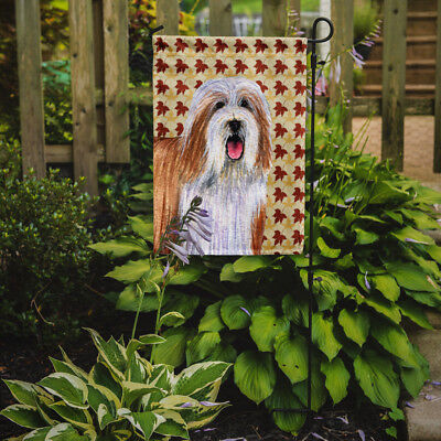 Carolines Treasures  LH9105GF Bearded Collie Fall Leaves Portrait Flag Garden Si