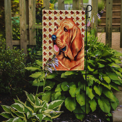 Carolines Treasures  LH9106GF Bloodhound Fall Leaves Portrait Flag Garden Size