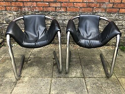 Fantastic Pair Genuine Arkana Leather Chrome Retro Cantilevered Machost Co Dining Chair Design Ideas Machostcouk