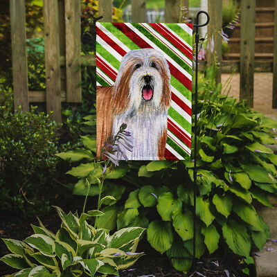 Bearded Collie Candy Cane Holiday Christmas  Flag Garden Size