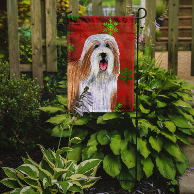 Bearded Collie Red and Green Snowflakes Holiday Christmas Flag Garden Size