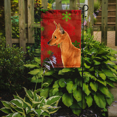 Min Pin Red and Green Snowflakes Holiday Christmas Flag Garden Size