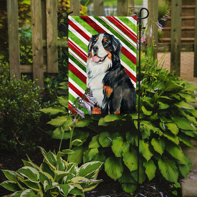 Bernese Mountain Dog Candy Cane Holiday Christmas  Flag Garden Size