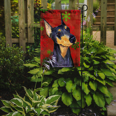 Doberman Red and Green Snowflakes Holiday Christmas Flag Garden Size