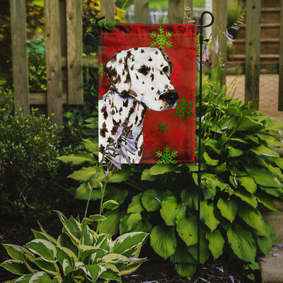 Dalmatian Red and Green Snowflakes Holiday Christmas Flag Garden Size