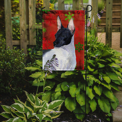 Rat Terrier Red and Green Snowflakes Holiday Christmas Flag Garden Size