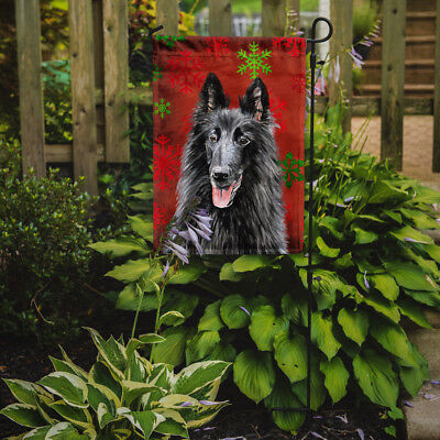 Belgian Sheepdog Red and Green Snowflakes Holiday Christmas Flag Garden Size