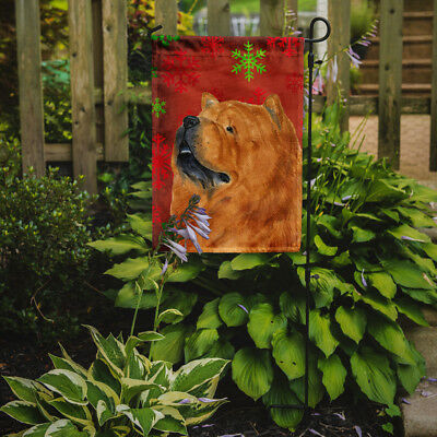 Chow Chow Red and Green Snowflakes Holiday Christmas Flag Garden Size