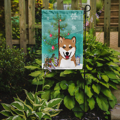 Carolines Treasures  BB1597GF Christmas Tree and Shiba Inu Flag Garden Size