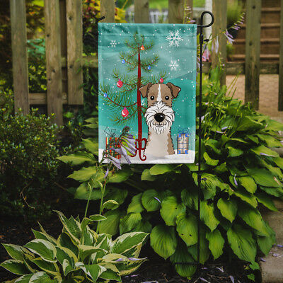 Christmas Tree and Wire Haired Fox Terrier Flag Garden Size