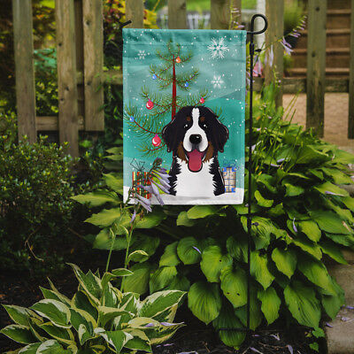 Christmas Tree and Bernese Mountain Dog Flag Garden Size