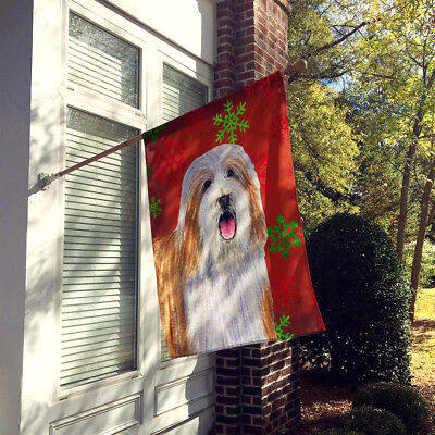 Bearded Collie Red  Green Snowflakes Holiday Christmas Flag Canvas House Size
