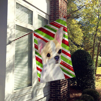 Chihuahua Candy Cane Holiday Christmas Flag Canvas House Size