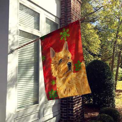 Norwich Terrier Red Green Snowflakes Holiday Christmas Flag Canvas House Size