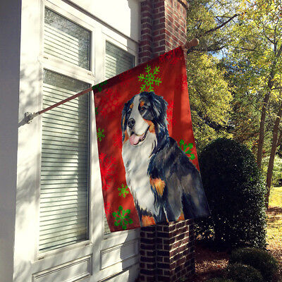 Bernese Mountain Dog Red Snowflakes Holiday Christmas Flag Canvas House Size