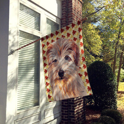 Norfolk Terrier Fall Leaves Flag Canvas House Size