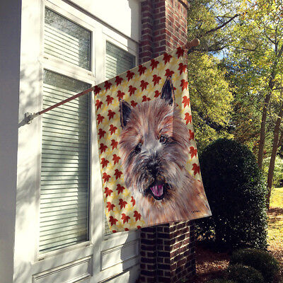 Norwich Terrier Fall Leaves Flag Canvas House Size