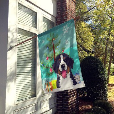 Christmas Tree and Bernese Mountain Dog Flag Canvas House Size