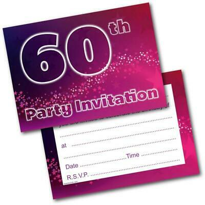 60th Birthday Party Invitations Age 60 Female Womens Pack Of 20 Invites Envs