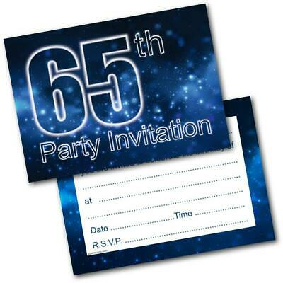 65th Birthday Party Invitations Age 65 Male Mens Pack Of 20 Invites Envelopes