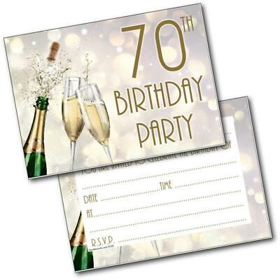 70th birthday party invitations age 70 male mens female womens pack