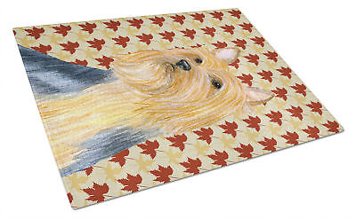 Silky Terrier Fall Leaves Portrait Glass Cutting Board Large