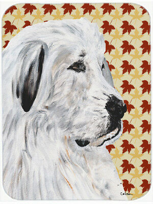 Great Pyrenees Fall Leaves Glass Cutting Board Large Size