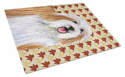 Bearded Collie Fall Leaves Portrait Glass Cutting Board Large