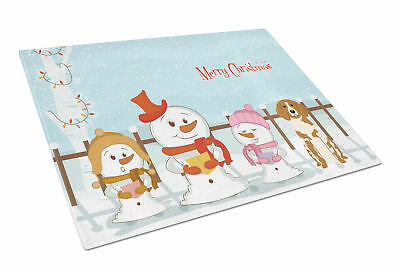 Merry Christmas Carolers Brittany Spaniel Glass Cutting Board Large