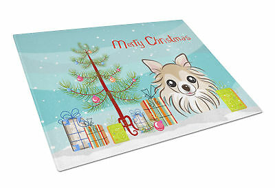 Christmas Tree and Chihuahua Glass Cutting Board Large