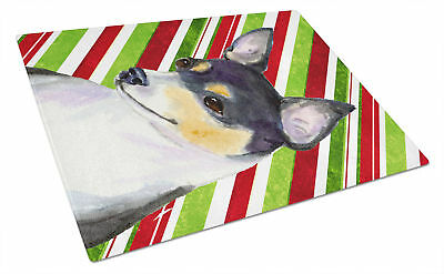 Chihuahua Candy Cane Holiday Christmas Glass Cutting Board Large
