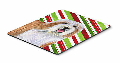 Bearded Collie Candy Cane Holiday Christmas Mouse Pad, Hot Pad or Trivet