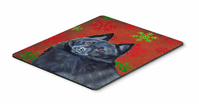Schipperke Red and Green Snowflakes Christmas Mouse Pad, Hot Pad or Trivet