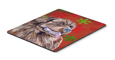 Newfoundland Red and Green Snowflakes  Christmas Mouse Pad, Hot Pad or Trivet