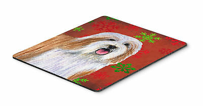 Bearded Collie Red and Green Snowflakes Christmas Mouse Pad, Hot Pad or Trivet