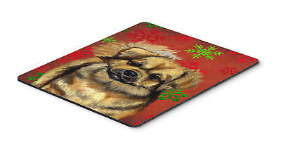 Tibetan Spaniel Red and Green Snowflakes Christmas Mouse Pad, Hot Pad or Trivet