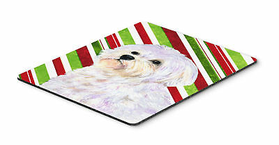 Maltese Candy Cane Holiday Christmas Mouse Pad, Hot Pad or Trivet