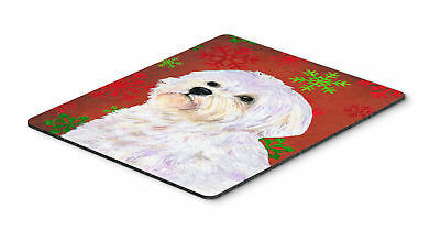 Maltese Red and Green Snowflakes Holiday Christmas Mouse Pad, Hot Pad or Trivet