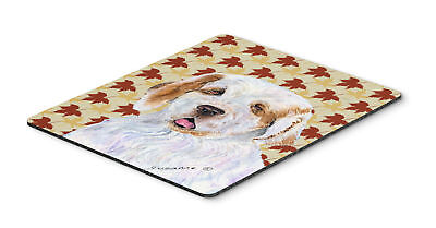Clumber Spaniel Fall Leaves Portrait Mouse Pad, Hot Pad or Trivet