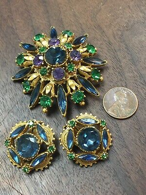 Vintage Florenza Pin Brooch Earring Set Signed