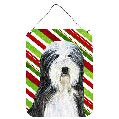 Bearded Collie Candy Cane Holiday Christmas  Metal Wall or Door Hanging Prints