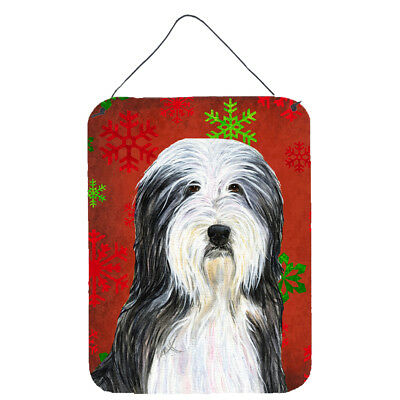 Bearded Collie Red Snowflakes Holiday Christmas Wall or Door Hanging Prints