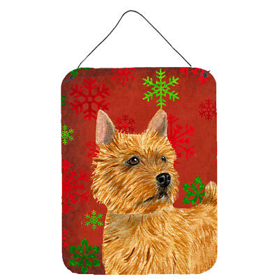 Norwich Terrier Red Snowflakes Holiday Christmas Wall or Door Hanging Prints