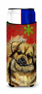 Tibetan Spaniel Red Green Snowflake Holiday Christmas Ultra Beverage Insulators